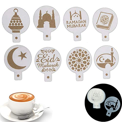 Acewen 8 Stück / Set Moschee Eid Mubarak Ramadan Design Kaffee Schablonen Laser Cut Kekse Fondant Kuchen Dekoration Werkzeuge