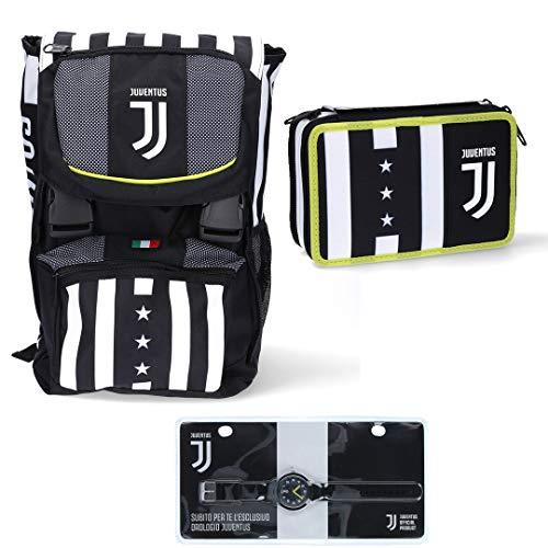 Juventus Schoolpack 2020/2021 Zaino Seven Sdoppiabile con Astuccio 3 Zip Completo di Cancelleria e Orologio in Omaggio - 100%...