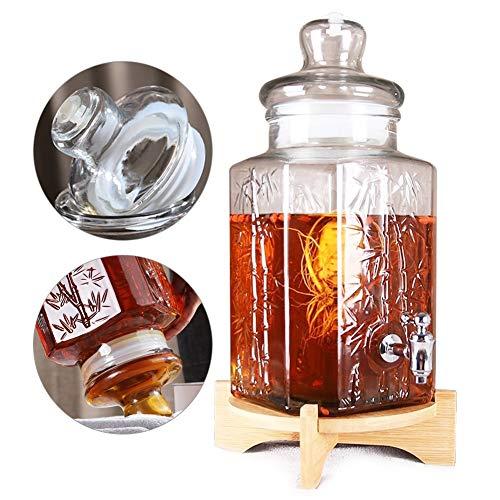 Verdikte melk, sap, koude drankdispenser met metalen spigot bamboebasis gemakkelijk te reinigen voor limonade/thee/koud water A~