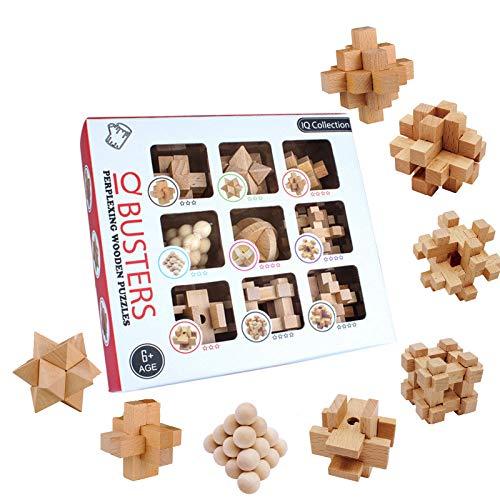 3T6B 3D Puzzle Casse-tête en Bois 9 pcs, Jeu de Cerveau Puzzle en Bois pour l'entraînement cérébral des Enfants et des Adolescents