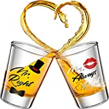 2 Pieces Mr. and Mrs. Right Novelty Shot Glasses 2 oz Funny Wedding Wine Glasses for Engagement Present Anniversary Present Bridal Shower Present Mr. and Mrs. Present for Newlyweds and Couples