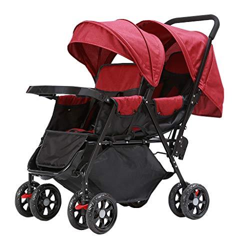 Poussettes Double jumeau Panier bébé Assis arrière et après Le Chariot de bébé Poids léger Chariot Enfant allongé Version Buggy avec la Plaque de Repas