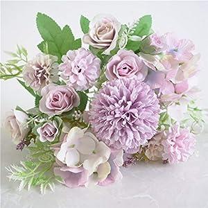 Artificial Flowers, Fake Peony Silk Hydrangea Bouquet Decor Plastic Carnations Realistic Flower, Beautiful Artificial Silk Fake Flowers Wedding Valentines Bouquet Bridal Decor (A, Purple)