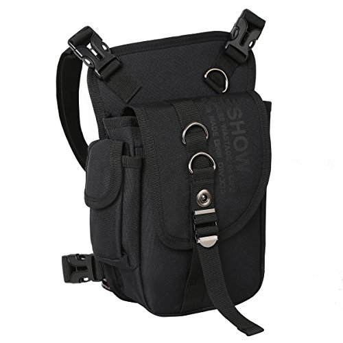 Eshow Men Drop Leg Bag Multi-Purpose Tool Bags Waterproof Canvas Hiking Waistpacks Tactical Leg Bag Fanny Pack Hip Bag Retro Bike Cycling Motorcycle Outdoor Pouch Travel for Men Women