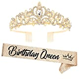 'Birthday Queen'Sash and Rhinestone Crown Set - Glitter Gold Fabric with Black Foil Letters Birthday Sash for Women + Rhinestone Crown Set Birthday Party Gifts Birthday Party Supplies