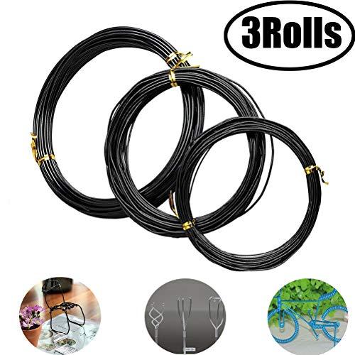 4 Sizes 3.5mm, 4mm, 5mm, 6mm White - Black 6SHINE 1 Roll of Anodized Aluminium Bonsai Training Wire,Long Lasting Bonsai Wire