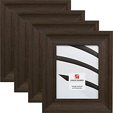 Craig Frames 25DRIFTWOODBK 8 by 10-Inch Picture Frame 4-Piece Set, Real Wood, 2.5-Inch Wide, Black