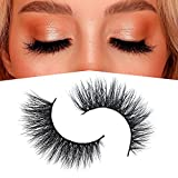 Arison 3D Mink Lashes False Fake Eyelashes Wispy Strips Silk Reusable Handmade Real Long Fur Soft Dramatic Natural Look 1 Pair Package for Women Makeup (D003)