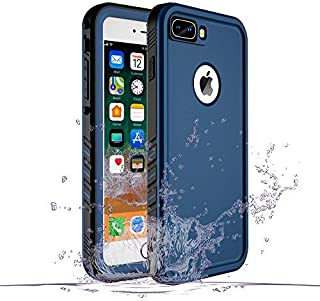 iPhone 8 Plus/7 Plus Waterproof Case, Waterproof iPhone 8 Plus Shockproof Full-Body Rugged Cover Case with Built-in Screen Protector for Apple iPhone 8 Plus and iPhone 7 Plus-(Blue)