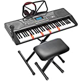 LAGRIMA LAG-450 61 Key Electric Keyboard Piano Kit w/ 3-step Teaching, X Stand, Smart Light Up Keys for Beginner, Microphone, Headphone, Dual Power, Recording, Music Stand, Adjustable Stool, Black