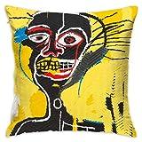 LongTrade Jean-Michel Basquiat P4 Fodera per Cuscino per Fodera per Cuscino Cuscino Quadrato Decorativo Moderno per Divano casa 18x18 Pollici
