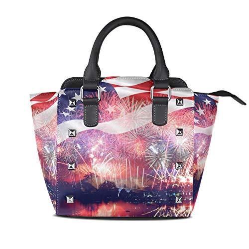 XiangHeFu Damen Handtaschen Flag Feuerwerk Tote PU Leder