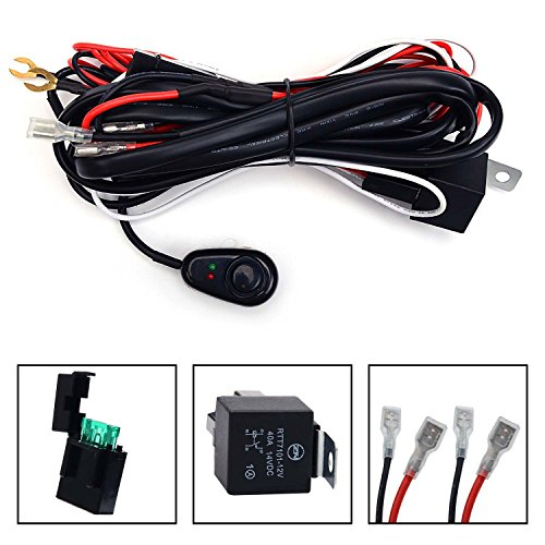 KAWELL Universal 2 lead LED Light Bar Wiring Harness Kit with Fuse Relay ON OFF Switch for LED Offroad Driving Light LED Lamp Fog Light Work Light 12V 40A Waterproof