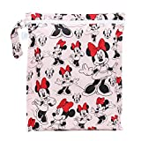 Bumkins Disney Minnie Mouse Waterproof Wet Bag, Washable, Reusable for Travel, Beach, Pool, Stroller, Diapers, Dirty Gym Clothes, Wet Swimsuits, Toiletries, Electronics, Toys, 12x14