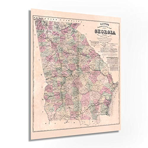 Historix Vintage 1864 Map of Georgia Poster - 24x30 Inch Vintage Map of Georgia Wall Art - Vintage Georgia Map Showing Counties, Railways, Stations, Villages, Mills - Georgia State Wall Map (2 sizes)