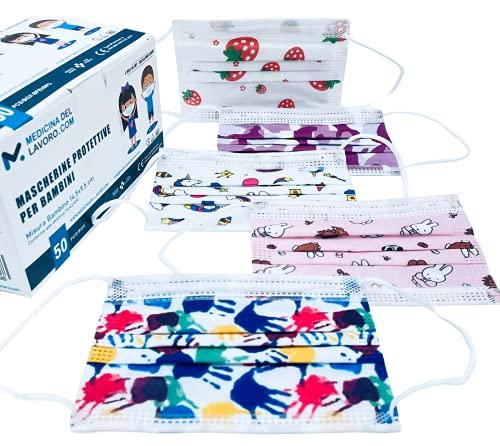 50 Mascarillas Quirúrgicas Homologadas para Niños, Certificado CE, Alta Eficiencia de Filtración BFE≥98, Mascarillas Infantiles Desechables Faciales de 3 Capas con Elásticos - [50 Piezas]