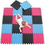 meiqicool Puzzlematte für Babys und Kinder, Spielteppich Spielmatte Lernteppich Kinderspielteppich Schaumstoffmatte Matte bunt,18 Stück Schwarz Blau Rot 040709