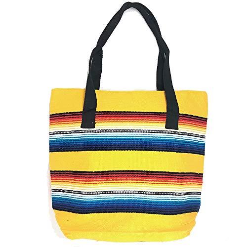 El Paso Saddleblanket Authentic Serape Tragetasche, mit Reißverschluss, in leuchtenden Südwestfarben, groß, Gelb (gelb), Large
