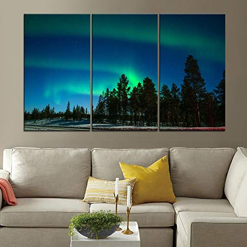 woplmh Modulair Canvas HD Gedrukt Lapland Noordelijke Lights Bos Bomen Schilderen Muur Art Home Decor -3 Stuks Stijl Decor -60cmX80cmX3 stuks Geen frame