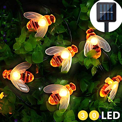 Cadena de Luces Solar 30 LED Guirnalda Luces Solares Exteriores Impermeables en forma de Abeja para...