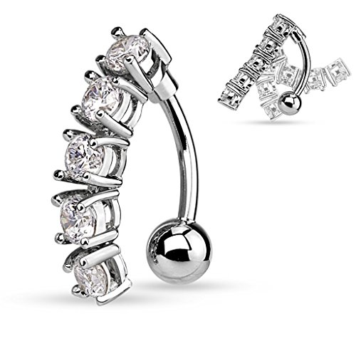 5 CZ Vertical Drop Reverse Belly Button Ring Surgical Steel 14g Top Down Navel Ring (Silver Tone)