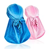 Premium Velvet Men Durag Headwraps (2PCS) with Extra Long Tail and Wide Straps for 360 Waves