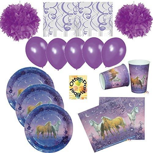 Traumpferdchen Pferde Horses Party-Set 68tlg. für 12 Kids Teller Becher Servietten Luftballons Pom-Poms Spiralen