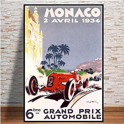 Aishangjia 64th Car Poster Grand Prix Supercar Retro 2006 Monaco Race Arte de Pared Lienzo Mural Habitación Decoración del hogar 50x70 cm G-956