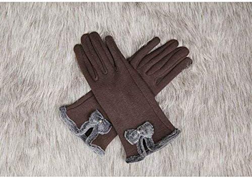 Brown 2016 Women Winter Warmer Touch Screen Gloves Full Finger Bowknot Mittens Newest