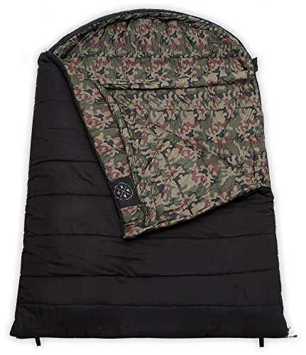 Tough Outdoors The Colossal Winter Double Sleeping Bag - XXL Hooded Sleeping Bag - Perfect for Camping. Temperature Range 20-50°F. Fits Adults up to 7'1. Ripstop Water Resistant Shell