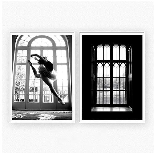 Canvas Dansende Posters Muurschildering Muurfoto's voor Woonkamer Zwart en Wit Vensterbank Decor voor huis-60x80cm Geen Frame
