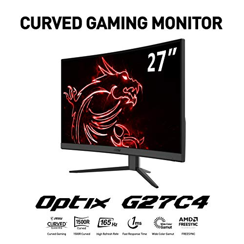 "MSI Optix G27C4 Monitor Gaming 27"" Curvo, Display 16:9 Full HD (1920x1080), Frequenza 165Hz, Tempo di risposta 1ms, AMD Freesync, Pannello VA, Curvatura 1500R, VESA 100x100"