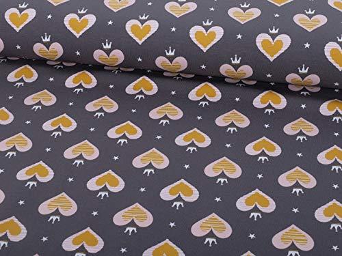Jersey Stoff mit Herzen Senf auf Grau als Meterware zum Nähen von Erwachsenen, Kinder und Baby Kleidung, 50 cm