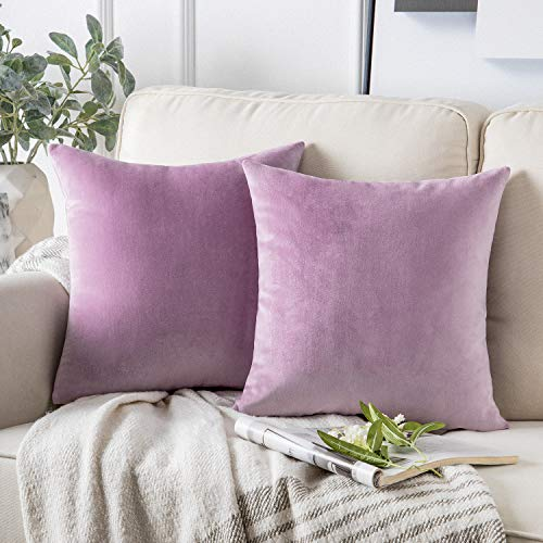 Phantoscope Pack of 2 Velvet Decorative Throw Pillow Covers Soft Solid Square Cushion Case for Couch Light Purple 18 x 18 inches 45 x 45 cm