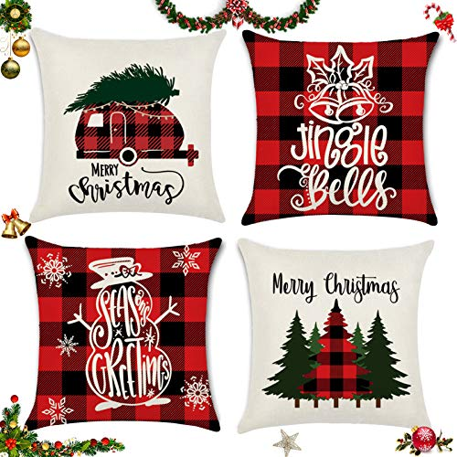 Sunshine smile 4 Pack Natale federe Cuscini,Fodere per Cuscini Decorate,Fodere per Cuscini Natale,copricuscini Divano Natale,Fodere per Cuscini Divano,Christmas Fodere per Cuscini (F)
