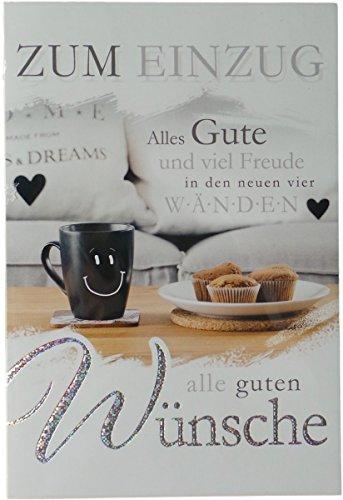 Glückwunschkarte Umzug - Zum Einzug - Alles Gute und viel Freude in den neuen vier Wänden - Kaffeetasse und Muffins - Mehrfarbig - mit Briefumschlag