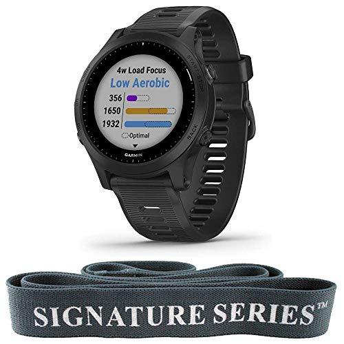 Garmin Forerunner 945, Premium GPS Running/Triathlon Smartwatch with Music, Black + Signature Series 6.5' Fitness Stretching Pull Up Assist Training Fabric Resistance Band – Dark Grey