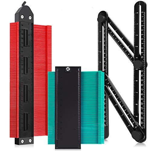 Konturenlehre,Formkontur Duplikator mit Sperrfunktion,Multifunktionales Messwerkzeug mit Skala Unregelmäßiges für präzise Messung (rot)