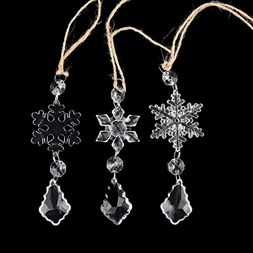 Xisheep Acrylic Snowflake Christmas Wedding Tree Hanging Decoration Decoration for DIY P, Christmas Holiday Party Decoration