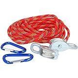 com-four® polea para niños a Partir de 8 años, Cable extraíble hasta máx. 15kg (Rojo)