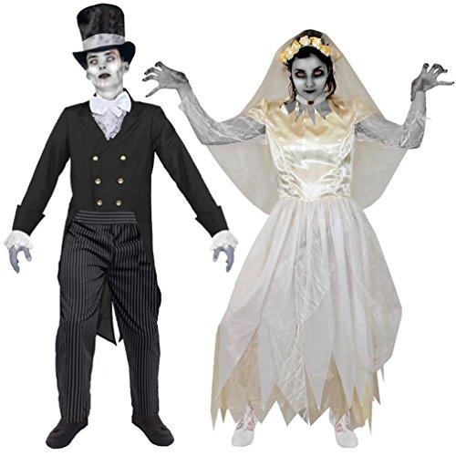 I LOVE FANCY DRESS LTD Geister Zombie Vampir Paar KOSTÜM VERKLEIDUNG Halloween Fasching Karneval=BEIDE KOSTÜME SIND ERHALTBAR IN 5 VERSCHIEDENEN GRÖßEN=(Frauen-Large)+(MÄNNER-Large)