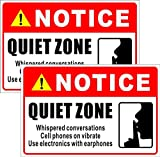 Outdoor/Indoor (2 Pack) 9' x 6' - Quiet Zone, Whispered Conversations, Cell Phone On Vibrate, Use Electronics with Earphones - Notice Caution Warning Sign Back Adhesive Vinyl Label Sticker