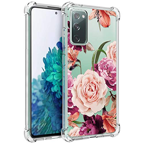 Osophter for Galaxy S20 FE 5G Case Flower Floral for Girls Women Shock-Absorption Flexible TPU Rubber Phone Cover for Samsung Galaxy S20 FE 5G(Purple Flower)