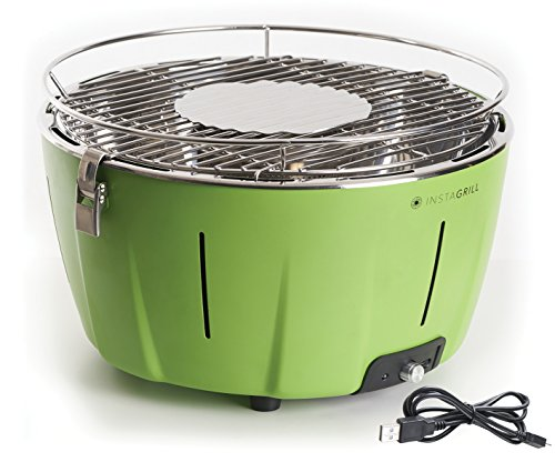 Classe Italy InstaGrill Barbecue Senza Fumo, A Carbone, Portatile, Verde, 36X36X22 Cm