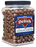 Gourmet Milk Chocolate Covered Almonds by Its Delish – 3 LBS Jumbo Reusable Container – Kosher Dairy Chocolate Coated California Almonds