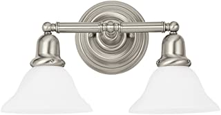 Sea Gull Lighting 44061-962 Sussex Two-Light Bath or Wall Light Fixture with Satin White Glass Shades, Brushed Nickel Finish