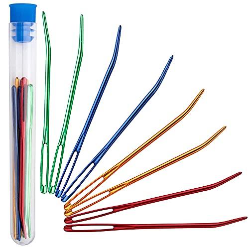 Juego de 9 agujas de costura, ARPDJK de aluminio, agujas grandes para bordar a mano, agujas dobladas con tubo transparente, agujas para tejer lana