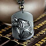 Anhänger Wolf–Freiheit und Stärke–natürlichen Obsidian