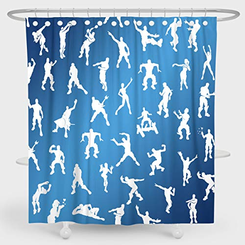 Foronly Video Game Themed Shower Curtain Vintage Boogie Dance Moves Kids Blue Emote Fort Battle Waterproof Fabric Home Bathtub Decor 12 Pack Plastic Hook 72Lx72W Inch
