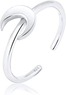 Elli Women Crescent Luna Basic Astro 925 Adjustable Ring
